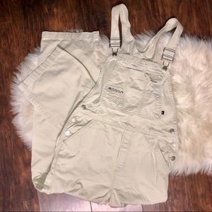 Vintage Khaki & Plaid No Boundaries Overalls